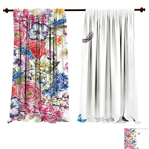 Thermal Insulated Blackout Grommet Curtain Flower Vintage Flowers Willow Lilies Butterflies and Feathers Botanical Garden Multicolor Drapes for Living Room (W96 x L84 -Inch 2 Panels) (Drapes Lily Tiger)