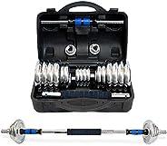 Svelfik Kit De Mancuernas Pesas con Barra Discos Ejercicio Gimnasio Fitness Ajustable 30kg