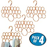 mDesign No Snag Scarf Hanger Storage for Scarves, Ties, Belts, Shawls, Pashminas, Accessories - Pack of 4, 18 Loops, Copper