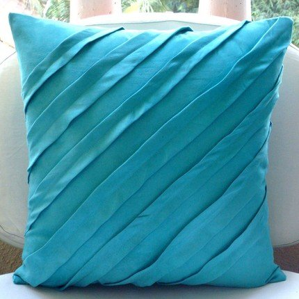 Turquoise Blue Pillow Covers, Textured Pintucks Solid Color Throw Pillows Cover, Pillow Covers 16