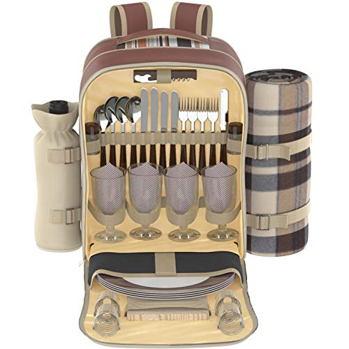 Kitchen Supreme Picnic Backpack Set for 4 | Luxury Gift Collection | Basket Bag with Large Insulated Cooler Compartment, Waterproof Fleece Blanket & Detachable Wine Holder (Bag Picnic Set)