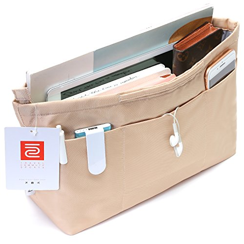 (IN Multi-Pocket Travel Handbag Organizer Insert Medium for Tote bag Purse Liner Insert Organizer With Handles(Medium Khaki))