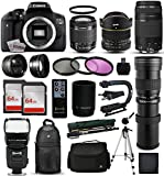 "Canon EOS Rebel T6i DSLR Digital Camera + 18-55mm IS STM + 6.5mm Fisheye + 55-250 IS STM + 420-1600mm Lens + Filters + 128GB Memory + i-TTL Autofocus Flash + Backpack + Case + 70"" Tripod + 67"" Monopod"