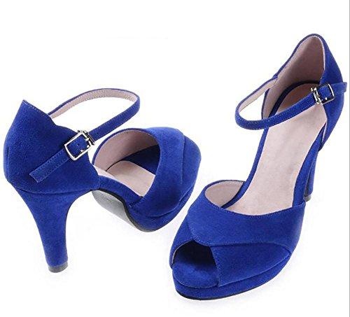 SYYAN Mujeres Ante Puntiagudo Boca De Pescado Manual Bomba Plataforma Vestir Sandalias Azul Blue