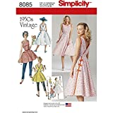 vintage clothing patterns - Simplicity Pattern 8085 H5 Misses' Vintage 1950s Wrap Dress in Two Lengths, Size 6-8-10-12-14