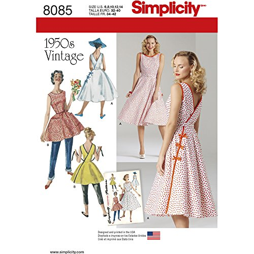Patterns For Vintage Dresses (Simplicity Pattern 8085 H5 Misses' Vintage 1950s Wrap Dress in Two Lengths, Size 6-8-10-12-14)