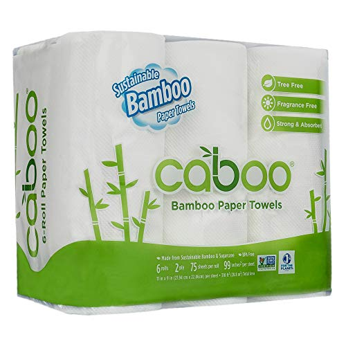 Caboo Tree Free Bamboo Paper Towels, 6 Rolls, Earth Friendly & Sustainable Kitchen Paper Towels with Strong 2 Ply - Paper Toilet Tree