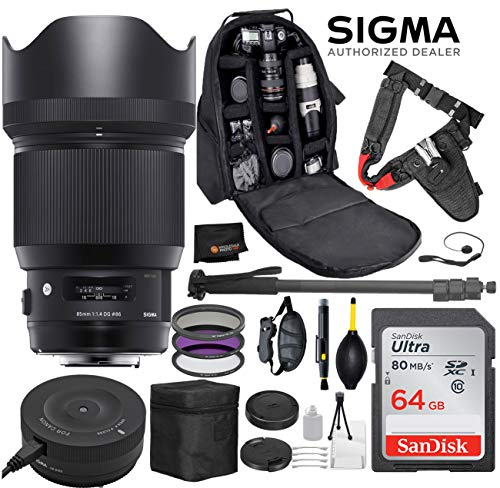 Sigma 85mm f/1.4 DG HSM Art Lens for Canon EF DSLR Cameras + Sigma USB Dock with Professional Bundle Package Deal – Quick Release Pro Camera Belt + SanDisk 64gb SD Card + Backpack + More