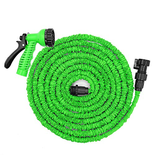 Jundy 25ft Garden Hose, Expandable Water Hose, Flexible Expanding Pressure Water Hose with 7 Functional Spray Nozzles, Double Layer Latex Core, Extra Strength Fabric,for Your Watering Needs(Green)