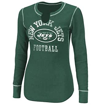 NFL Women's New York Jets Gameday Gal III Long Sleeve Split Crew Neck Thermal Tee (Dark Green/White, XX-Large)