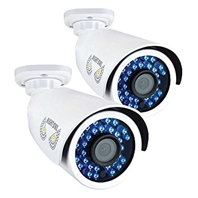 Night Owl Security, 2 Pack Add–On Analog HD 1080p HD Wired Security Bullet Cameras (White) from Night Owl