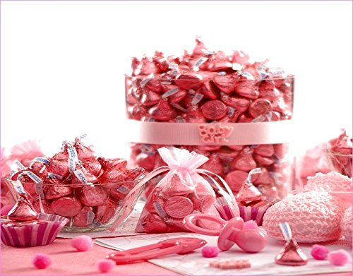 Hershey's Kisses 2 Pounds Pink Foil Wrapping Milk Chocolate Approx. 200 Kisses