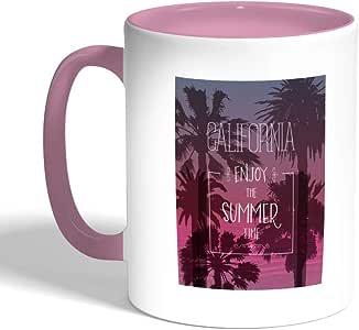 كوب سيراميك للقهوة بطبعة تمتع بالصيف ، لون بنك