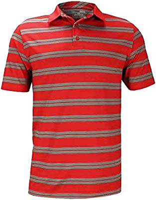 Under Armour New Performance Stripe Golf Polo RED/Graphite Small ...