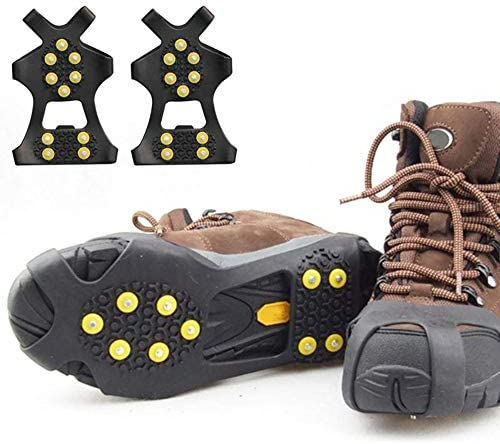 Ice Cleats,Snow Ice Traction Shoe Boot Cleats, 10 Stud Non-Skid Ice Crampons Unisex Over Shoe/Boot Traction Cleat Rubber Spikes Prevent Outdoor Activities from Wrestling