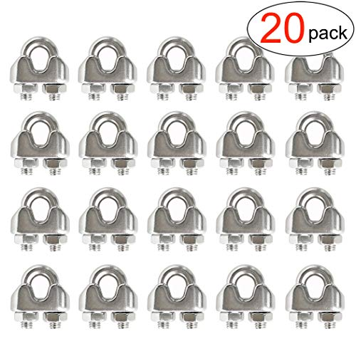 (HEVERP 20PCS 1/8 Inches M3 Stainless Steel Wire Rope Cable Clip Clamp)