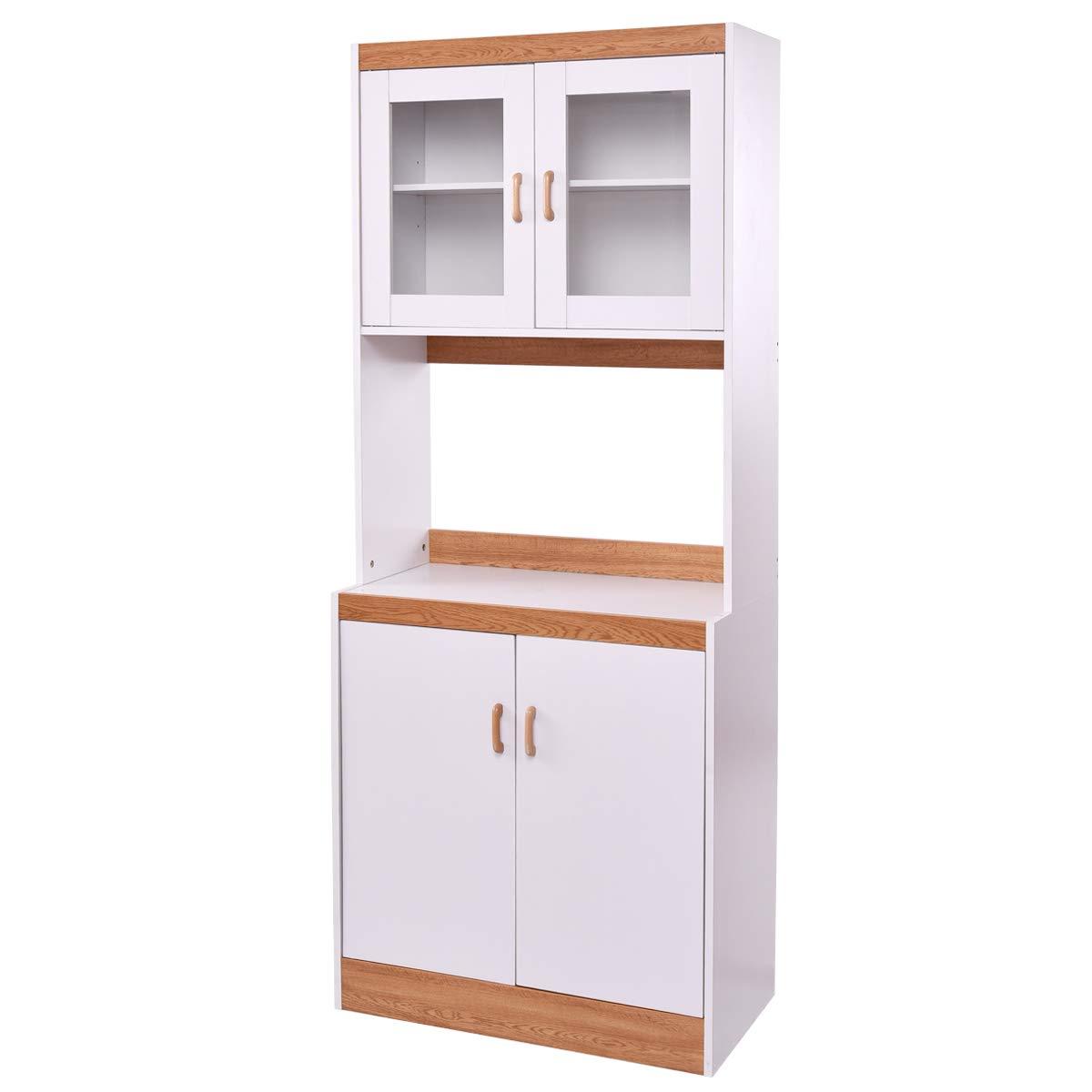 Amazon Com Giantex Kitchen Cabinet Microwave Counter Pantry