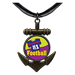 Chicforest Bronze Retro Style Number 1 Football Anchor Pendant