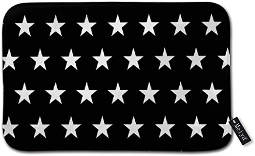 Imagen deBLSYP Felpudo Black and White Stars Pattern Indoor/Outdoor Easy Clean Non Slip Backing Entry Way Doormat 24 x 16 Inch