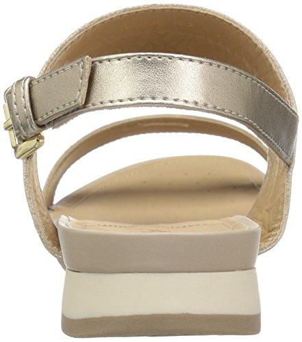 Geox D Sandalen Formosa Silbergold mit Damen Champagnecb500 C Keilabsatz rZxSqrf