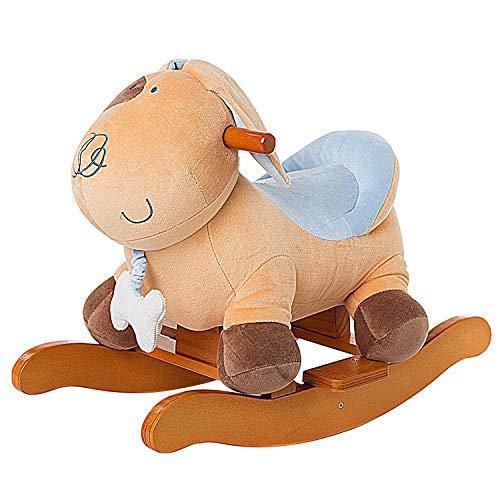 Labebe Child Rocking Horse Plush, Stuffed Animal Rocker Toy, Yellow Puppy/Dog Plush Rocker for Kid 1-3 Years, Wooden Rocking Horse Toy/Child Rocking Toy/Outdoor Rocking Horse/Rocker/Animal Ride on