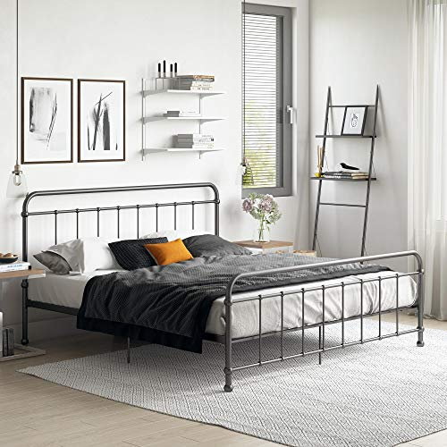 Iron Rails Bed - DHP Beaumont Meta Bed, Black, King