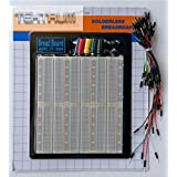 TEKTRUM EXTERNALLY POWERED SOLDERLESS 2200 TIE-POINTS EXPERIMENT PLUG-IN BREADBOARD WITH ALUMINUM BACK PLATE AND JUMPER WIRES FOR PROTO-TYPING CIRCUIT/ARDUINO
