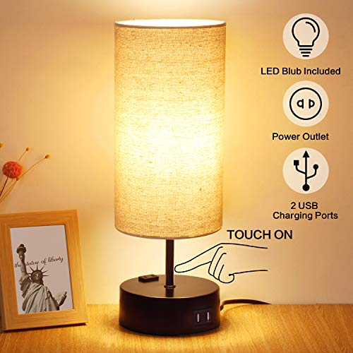 3 Way Dimmable Touch Table Lamp, 2 USB Charging Ports with Power Outlet. Nightstand Lamp, Bedside Lamp,Bedroom Lamp for Bedroom, Living Room, Office, A Dimmable LED Bulb Included