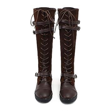 Logobeing Zapatos de Mujer Denim Botas Altas de Vaquero Romano de Mujer Botas Mujer Tacon Cordones Botas Largas Militar Tacones Mujer Calientes Seguridad ...