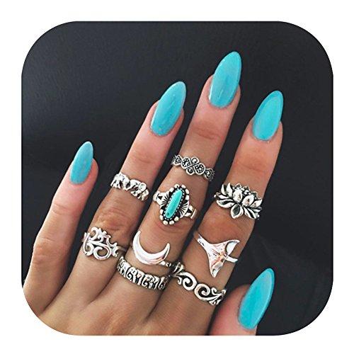 Rhinestone Fashion Ring Flower (Gudukt Midi Rings Bohemian Elephant Turquoise Lotus Yoga Vintage Finger Ring Set Women)