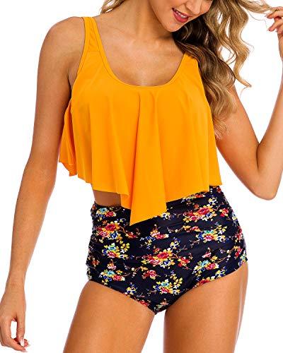 (Coskaka Women's High Neck Two Piece Bathing Suits Top Ruffled High Waist Swimsuit Tankini Bikini Sets Yellow L)