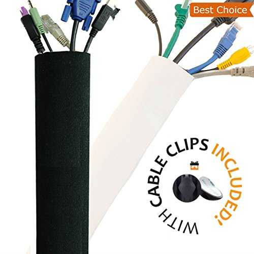 New Design PREMIUM 63'' Cable Management Sleeve, Best Cords Organizer System for TV Computer Office Home Entertainment by ProMaster, DIY Adjustable Black - White Cord Sleeves Wire Cover Concealer ()