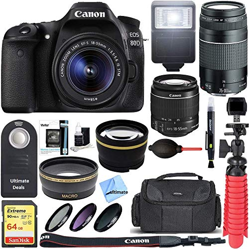 Canon EOS 80D CMOS DSLR Camera + EF-S 18-55mm IS STM & 75-300mm III Lens Kit + Accessory Bundle 64GB SDXC Memory + SLR Photo Bag + Wide Angle Lens + 2x Telephoto Lens + Flash + Remote + Tripod, Bundle