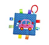 Little Taggie Like Theme Baby Sensory, Security & Teething Closed Ribbon Style Colors Security Comforting Teether Blanket - Car Theme w/Gift Box