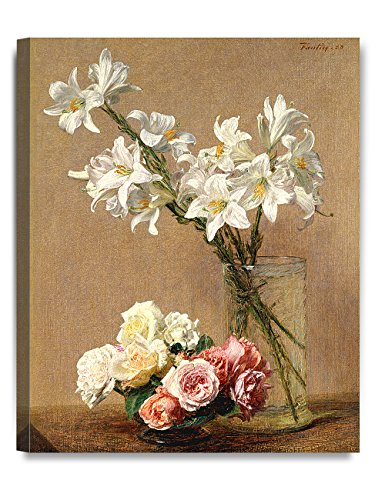 DecorArts -Roses and Lilies By Henri Fantin-Latour Oil Painting Reproduction Giclee Print on 100% Cotton Canvas Wall Art for Home Decor and Wall Decor 16x20