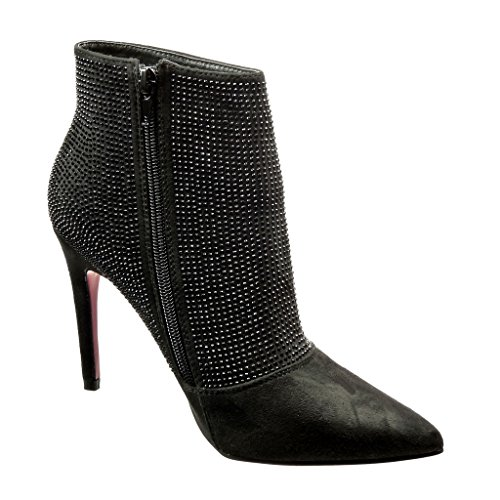 con Donna alla caviglia Cm Heel Diamond High Nero Sexy 10 strass Angkorly Stivaletto Needle fXIqF