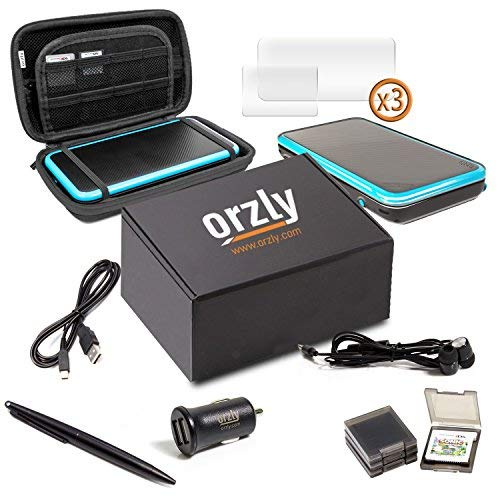 Orzly 2DSXL Accessories, Ultimate Starter Pack for New Nintendo 2DS XL (Bundle Includes: Car Charger/USB Charging Cable/Console Case/Cartridge Cases & More. (See Full Description for Details)