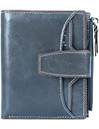 Women's RFID Blocking Leather Small Compact Bi-fold Zipper Pocket Wallet Card Case Purse with id Window