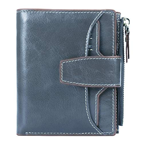 - AINIMOER Women's RFID Blocking Leather Small Compact Bi-fold Zipper Pocket Wallet Card Case Purse (Waxed Gray Blue)