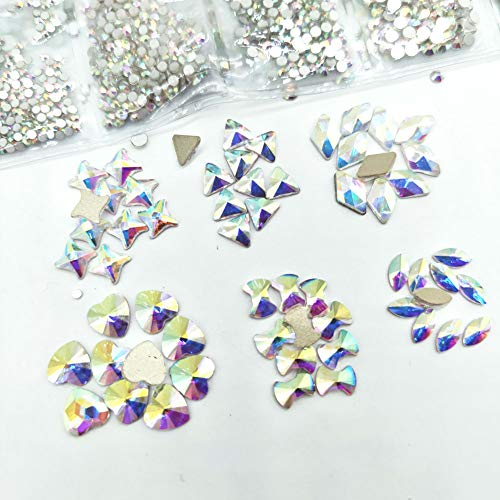 (Queenme Mix 1728pcs Round Nail Crystals + 60pcs Flatback Rhinestones for Nails Glass Gems Stone Nail Art Decoration 3D Diamond Jewelry Accessories Salon Supplies Scrapbooking Phone (Style A&3-10 AB))