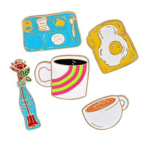 Cute Enamel Lapel Pins Sets Cartoon Animal Plant Fruits Foods Brooches Pin Badges for Clothing Bags Backpacks Jackets Hat DIY (Coffee Omelette bento Rose Set of 5)