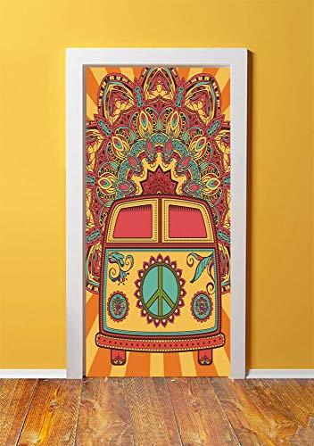 70s Party Decorations 3D Door Sticker Wall Decals Mural Wallpaper,Hippie Vintage Mini Van Ornamental Backdrop Peace Sign Decorative,DIY Art Home Decor Poster Decoration 30.3x78.11279,Coral Orange Turq ()
