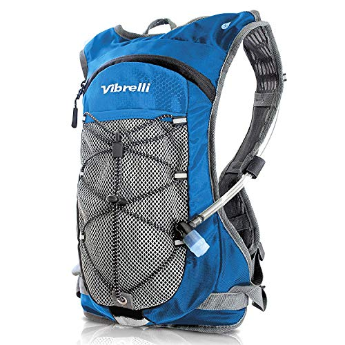 b06eb8cb49 Vibrelli Hydration Pack & 2L Hydration Bladder - High Flow Bite Valve Hydration  Backpack - Blue