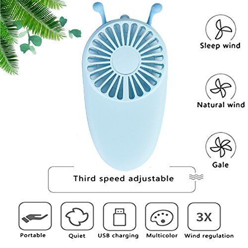 YAKOO Personal Handheld Fan, 3 Speed Electric Portable Pocket Fan USB Rechargeable Battery Cooling Fan Mini Size for Kids Girls Woman Room Outdoor Office Household Traveling- Little Bee Design by YAKOO (Image #4)