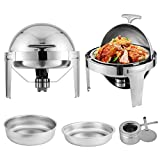 Mophorn 2 Packs Chafing Dish 6 Quart Round Chafer Roll Top Chafer for Catering Buffet Warmer Set with Pans and Fuel Holders (2 Packs Round)