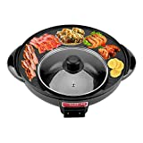 Electric Induction Hot Pot Cooker, 1200W 2 in 1 BBQ & Hot Pot