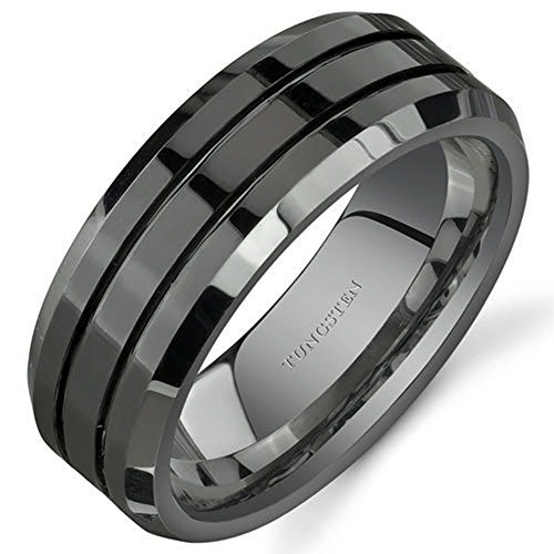 King Will CLASSIC Men 8mm Black Tungsten Carbide Rings Polished Beveled Edge Double Groove Wedding Bands 10