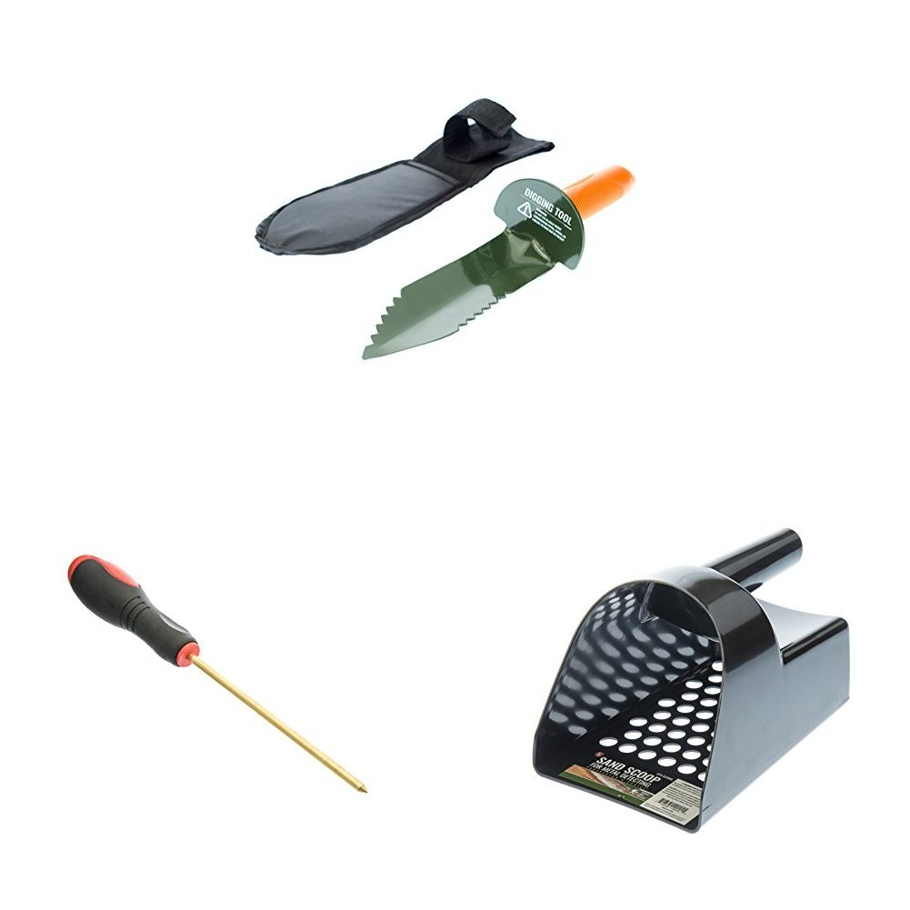 SE GP3-SS30DT 12'' Serrated Carbon Steel Edge Digger Garden Tool with Sand Scoop and Coin Probe