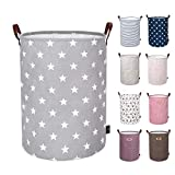 "DOKEHOM 22"" Thickened X-Large Laundry Basket -(9 Colors, 19"" and 22"")- with Durable Leather Handle, Waterproof Round Cotton Linen Collapsible Storage Basket (Grey Star, XL)"