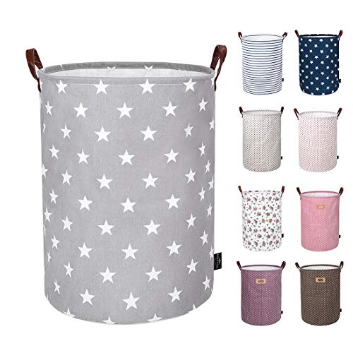 DOKEHOM 22-Inches Thickened X-Large Laundry Basket -(9 Colors)- with Durable Leather Handle, Drawstring Waterproof Round Cotton Linen Collapsible Storage Basket (Grey Star, XL) (Kids Basket)